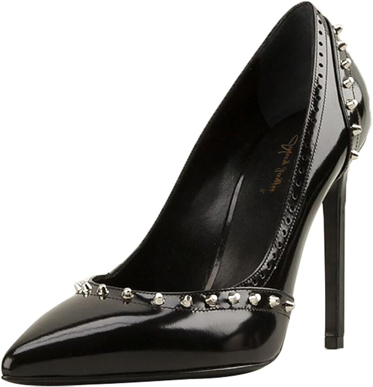 Nancy Jayjii NJPU Kvinnor Kvinnor Kvinnor svart Patent Stiletto hög klack Pumpar Sexy Pointed Toe Rivets Ballroom skor  uppkopplad