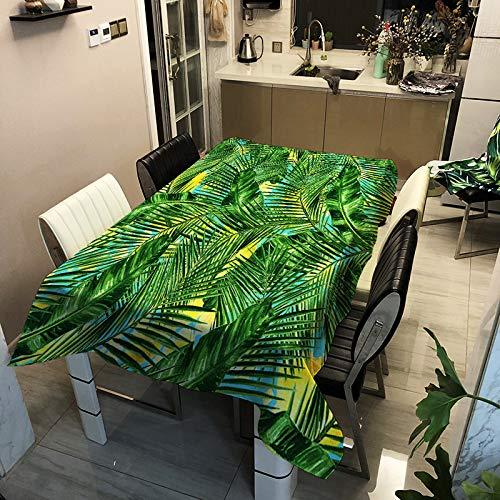 Mantel De Impresión De Planta Verde Simple Moderno Poliéster Impermeable Y Anti-Escaldado Tapete De Mesa para El Hogar Rectangular Mantel De Mesa De Café