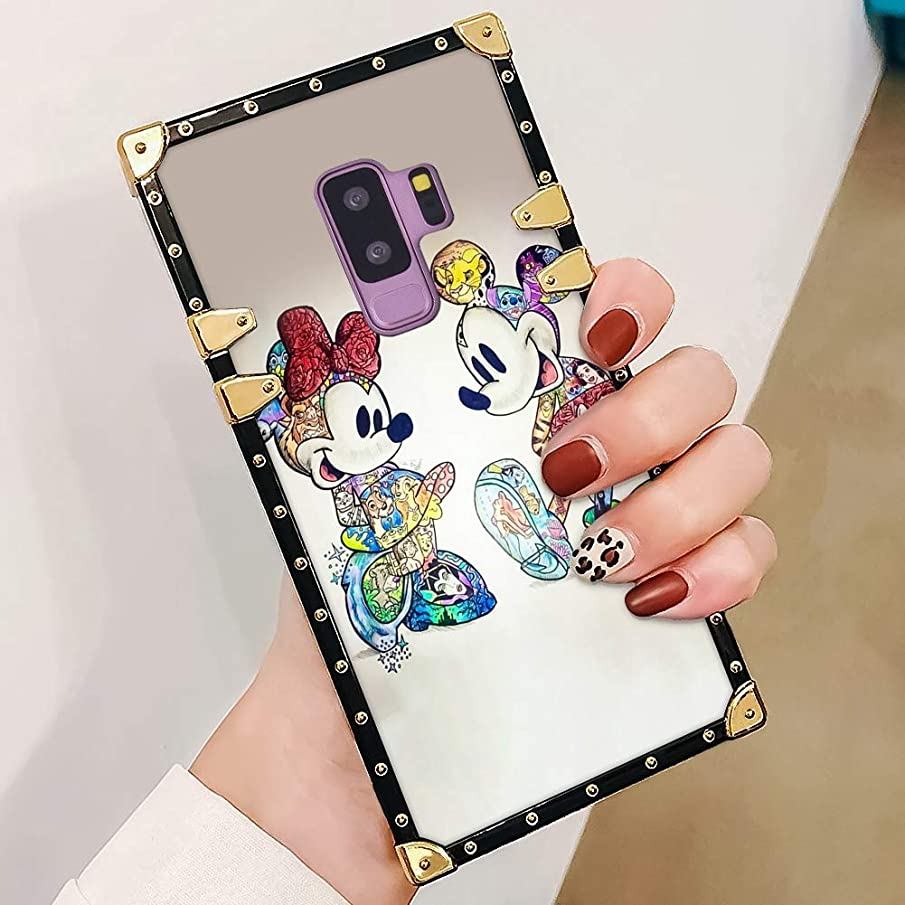 DISNEY COLLECTION Luxury Case for Samsung Galaxy S9 Plus Square Edges Mickey and Minnie Design Phone Cover for Girl Women Shock Bumper Back Case