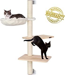 Pedy Cat Activity Tree with Scratching Post, Sisal Cat Tree House and Climbing Tower with Perch, Cat Tree Wall with Hammock, 3 Story Cat Condo Great for Kitty and Kitten