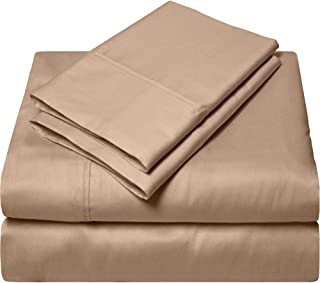 King Size Egyptian Cotton Sheets Luxury Soft 1000 Thread Count- Sheet Set for King Mattress Taupe Solid