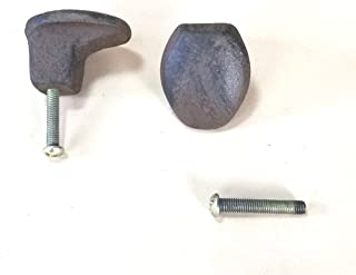 2pc Cast Iron Railroad Spike Knobs with Screws