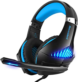 Selieve Gaming Headset for Xbox One, PS4, Nintendo Switch, PC, with Noise Cancelling Mic, LED Light Bass Surround Soft Memory Earmuffs for Fortnite/Red Dead Redemption 2 (Black & Blue)