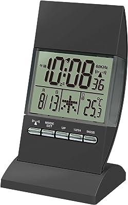 誠時(セイジ) 目覚まし電波時計 温度計機能付 RC illumination Clock Black イルミネーションクロック ブラック RW-005BK