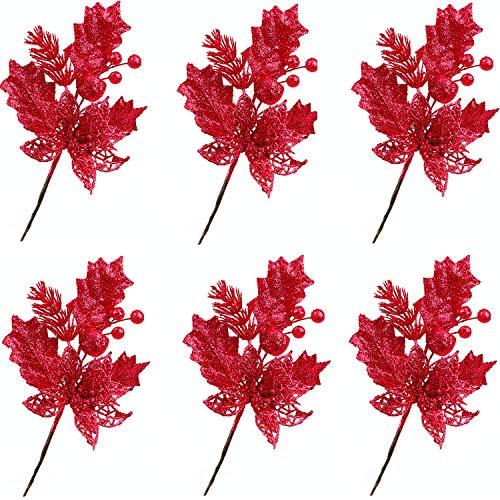 Poolan 6 Pack Red Glitter圣诞节选用与展面花的喷雾,并为圣诞装饰品和家庭装饰留下水果(红色)