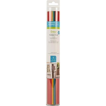 "Cricut Premium Vinyl - Permanent, 12"" x 12"" Adhesive Decal Sheets Brights Sampler, Tomato Red, Orange, Maize Yellow, Kelly Green, Medium Blue, Forest Green"