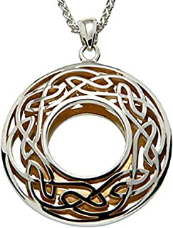 Keith Jack Jewelry, Window to the Soul Round Necklace, Sterling Silver & 22k Gilded Gold