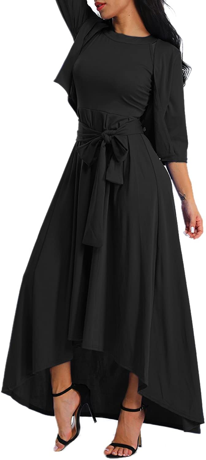 Alinemyer Women's Dress+Cardigan+Belt Halter Sleeveless Swing Maxi Dress Black XL