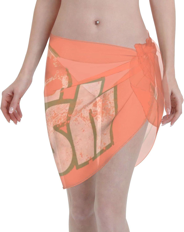 Luyhusgfh Orange Crush Women Short Sarongs Beach Wrap Sheer Bikini Wraps Chiffon Cover Ups for Swimwear