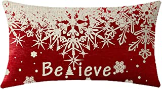 NIDITW Nice Winter Gift Merry Christmas Family Friends Believe Blessings Pine Tree White Falling Snowflakes Red Cotton Linen Throw Pillow case Cushion Cover Sofa Decorative Oblong Long 12X20 Inches
