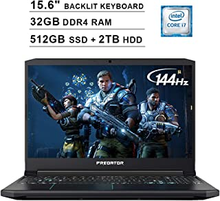 Acer 2019 Predator Helios 300 15.6 Inch FHD Gaming Laptop (9th Gen Intel 6-Core i7-9750H up to 4.5GHz, 32GB RAM, 512GB PCIe SSD + 2TB HDD, Backlit Keyboard, GTX 1660 Ti, WiFi, Bluetooth, Win 10)