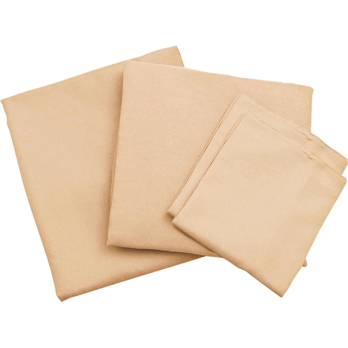 不運折る膨張する布団カバー 4点セット 敷布団用 洗える ピーチスキン加工 速乾 ダブルロング アーモンド