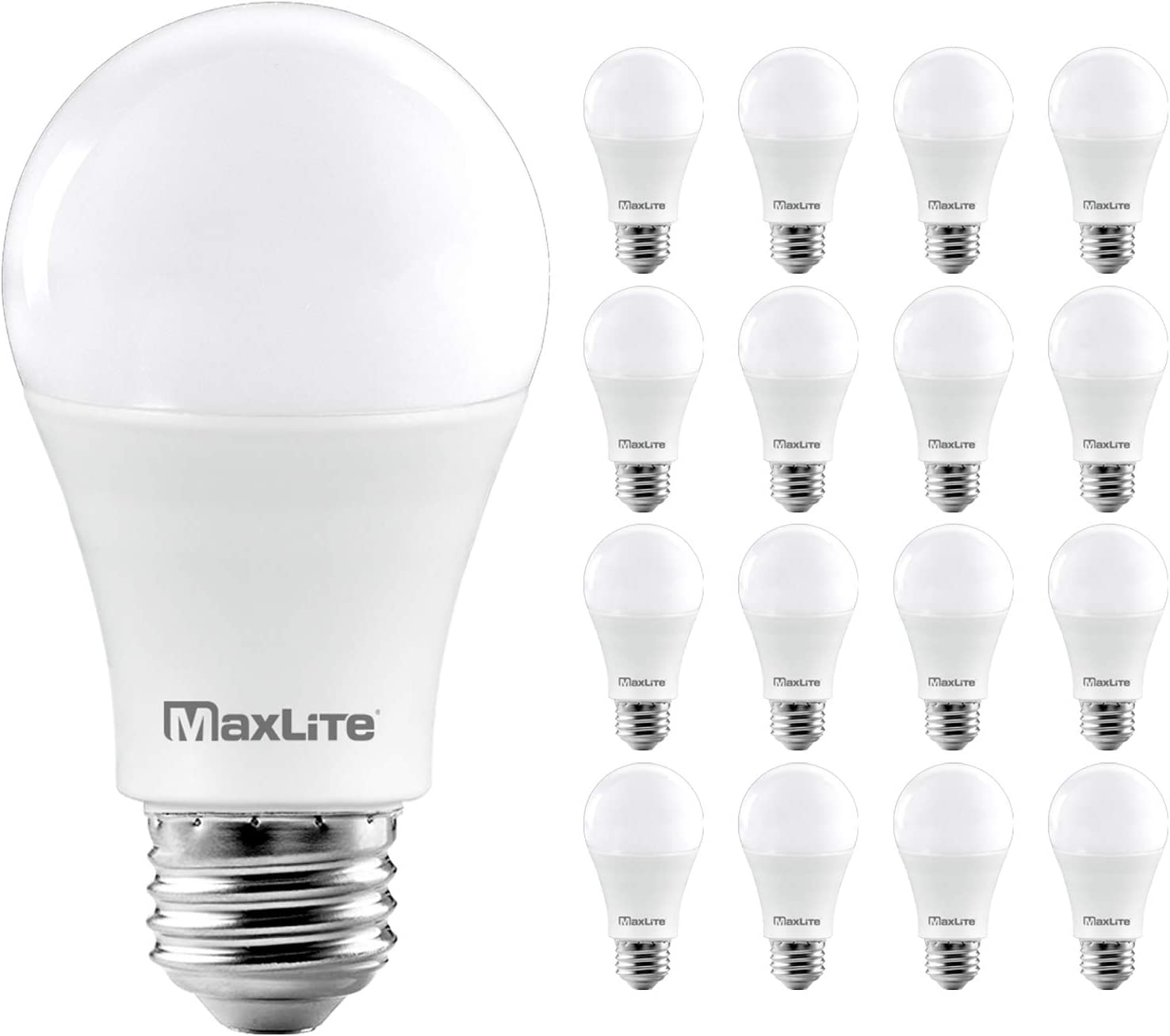 Maxlite A19 Led Bulb Enclosed Fixture Rated Daylight 5000k 100w Equivalent 1600 Lumens Dimmable E26 Medium Base 16 Pack Amazon Com
