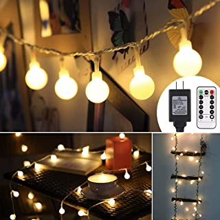 ALOVECO 33ft 100 LED Globe String Lights, 8 Dimmable Lighting Modes with Remote & Timer, UL Listed 29V Low voltage Waterproof Decorative Lights for Bedroom, Patio, Garden, Party(Warm Color)