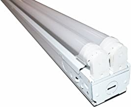 8 FT LED Industrial Retail Flush Mount 4 Light T8 Fixture w/ 4X 24W LED Tubes 96W Total 6500k Equivalent to 256W Fluorescent Fixture 30% Brighter Than 18W LED Bulbs