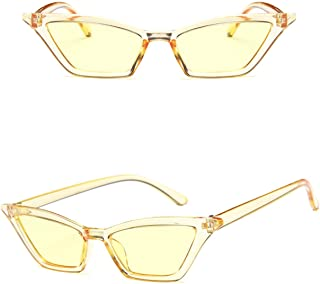 f02805db072 Small Frame Skinny Cat Eye Sunglasses for Women Colorful Lens Mini Narrow  Square Retro Cateye Vintage