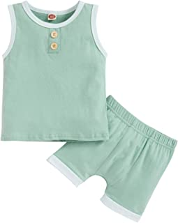 Baby Boy Girl Solid Color Shorts Set Unisex Kids Sleeveless Top with Shorts 2 Pieces Summer Clothes Set Outfits