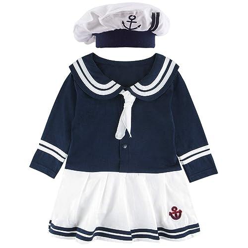 adb8b526b45 COSLAND Baby Girls  Sailor Dress Bodysuit Outfit with Hat