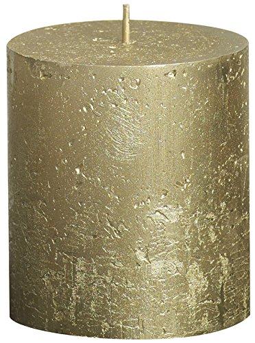 Rustic 103667630382 Stumpenkerze mit Metallic-Finish, Paraffinwachs, Goldfarben.