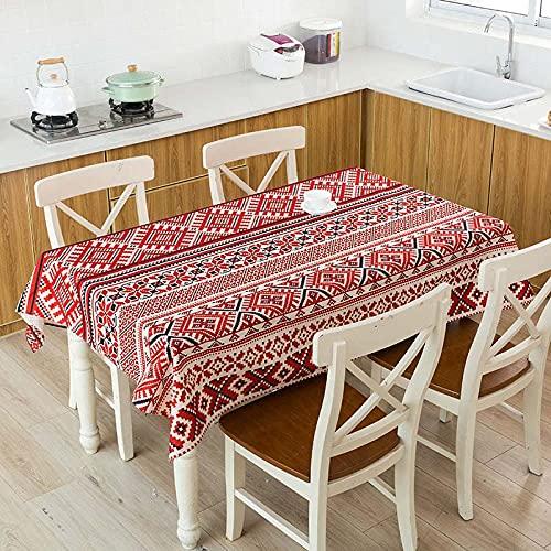 XXDD Mantel de Lino Impermeable con patrón de costumbres étnicas africanas, Mantel Decorativo para el hogar, Cocina, Hotel, Escritorio, A10, 140x180cm