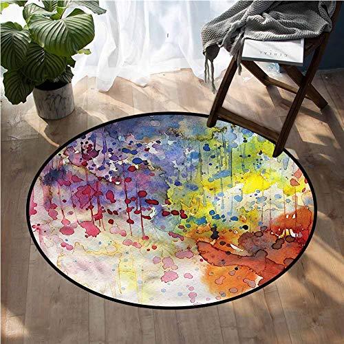 Abstract Round Carpet Pad Watercolor Spots Liquid Living Room Carpet 3Ft Diameter