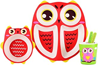 ZAD HOME Bamboo Fiber Plate, Owl ,healthy, Eco Friendly Children Dinnerware, 5 Pieces Set (ZH-203-RED)