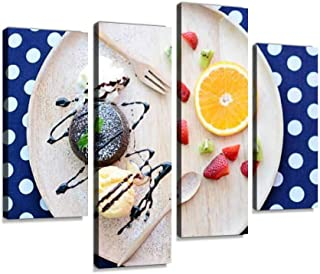 Chocolate Lava Cake Canvas Wall Art Hanging Paintings Modern Artwork Abstract Picture Prints Home Decoration Gift Unique Designed Framed 4 Panel