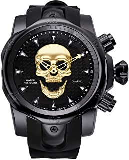 Stainless Steel Analog Wristwatches Skull Black 3D Ghost Large Cool Dial Designer Watches