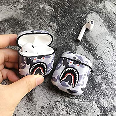 Shark Teeth Camo Softshell Silicone AirPods IMD Case for Apple AirPods 2 & 1, Wireless Charging Case Protective Cover and Skin Supreme Girls Boys Women Kids Teens Airpods (Silver)