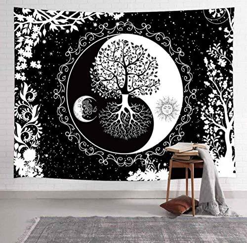 Mandala-Wandteppich, Schwarz & Weiß, Sonne & Mond, Hippie-Mandala, Wandbehang, Bohemian-Tagesdecke, Wohnungsdekoration, Tischdecke, Yoga-Matte, 150 x 220 cm