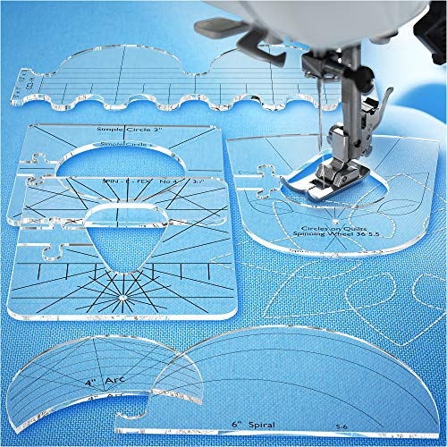 Quilting Templates for Domestic Sewing Machine - Sewing Tools New Ruler - Quilting Tool Templates Acrylic - Highly Durable and Safe - Quilting Rulers and Templates Thickness 1/4""