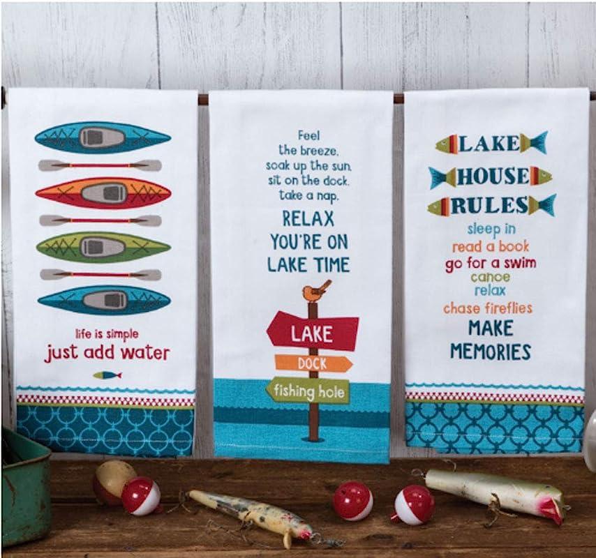 Kay Dee Designs Lake Life Assorted Set Flour Sack Towels Set Of 3