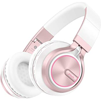Picun Wireless Headphones 25 Hours Playtime Girls Romantic LED Bluetooth V5.0 Headphones, Hifi Bass Foldbale Headset with HD Mic, Soft Earmuff, Wired & TF Mode for Kids Women(Rose Gold)