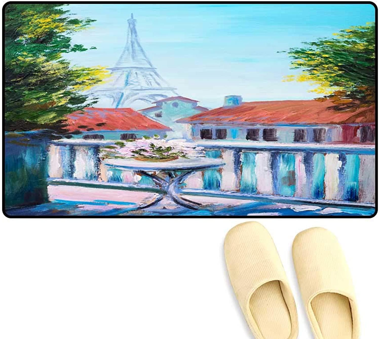 Interior Doormat Oil Painting of Eiffel Tower France