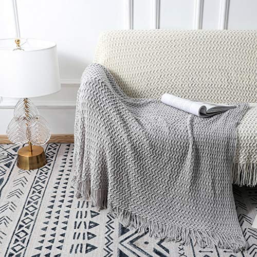 OFADD Knitted Throw Blankets for Sofa Couch with Tassels Lightweight Woven Decor Blanket Soft Throws Indoor Bedroom Decorative 50x60 Inches Grey