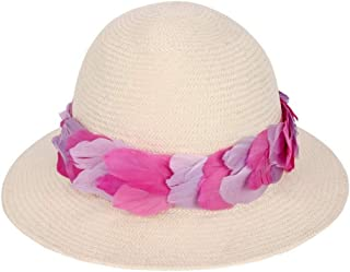 Hats Summer Sun Hat Foldable Lace Feather Women's Straw Hat Fashion (Color : Beige, Size : One Size)