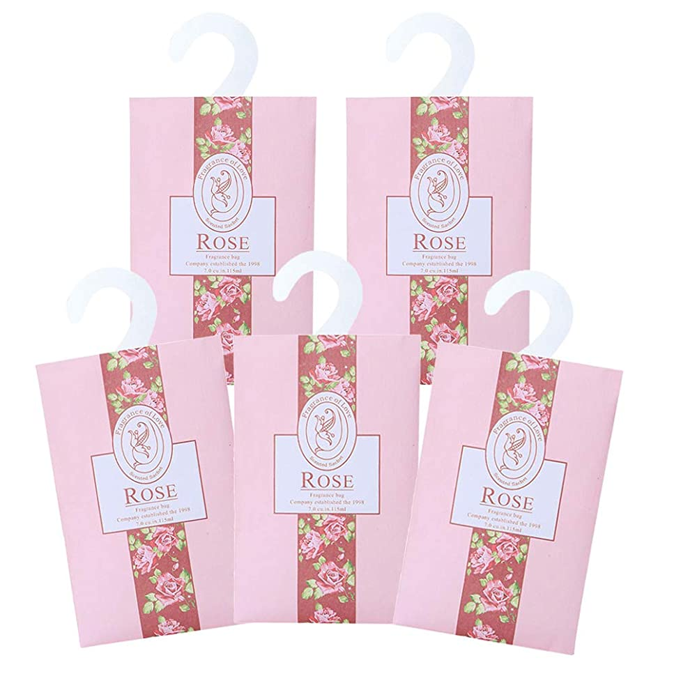 旧正月しつけ拘束TINKSKY 香り袋 サシェ 5枚セット 花の香り ルームフレグランス 車内用 玄関用 部屋用 着物用 芳香剤(バラ)