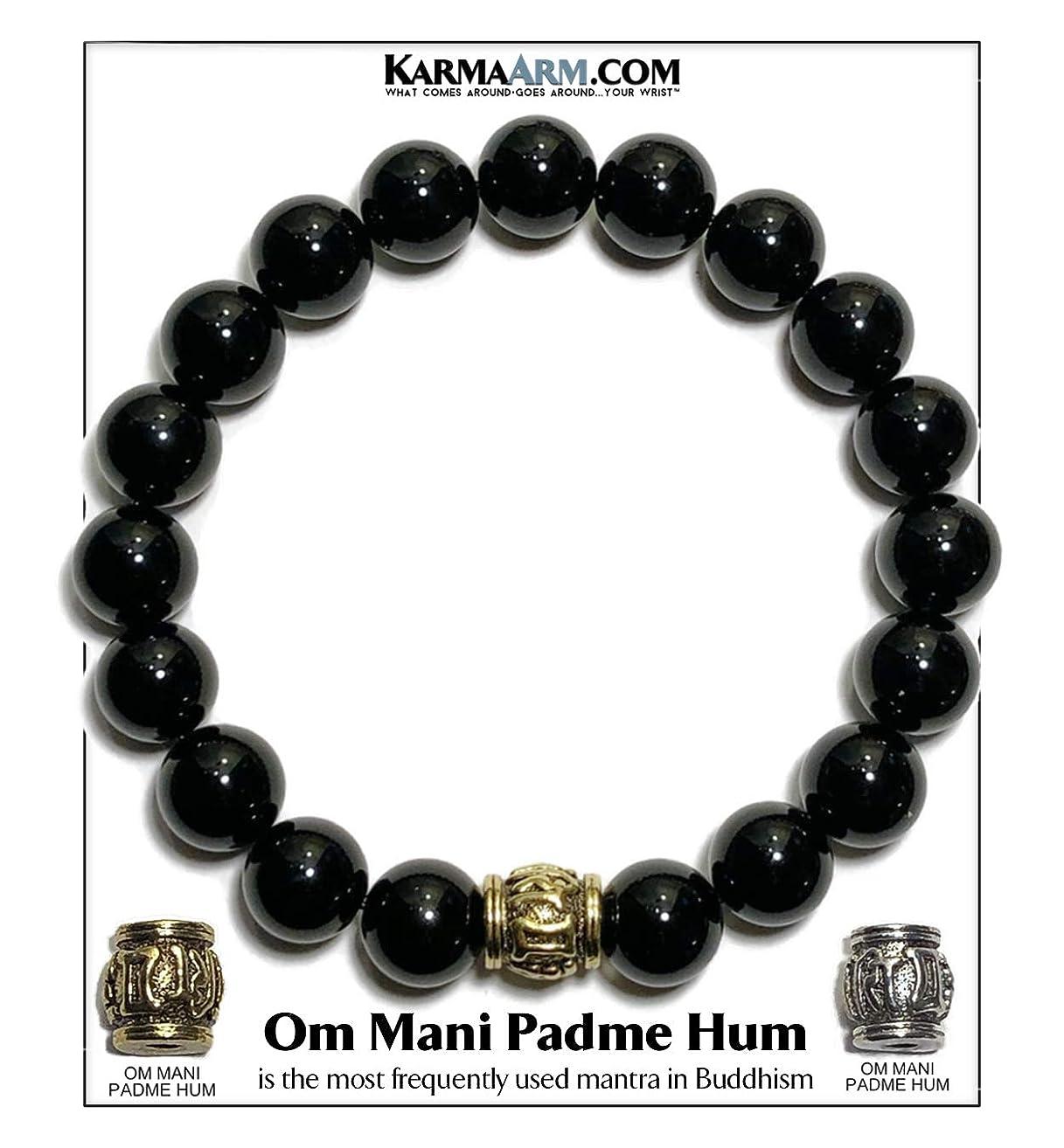 Tibetan Buddhist Mantra Prayer Wheel Bracelet   Om Mani Padme Hum   Yoga Chakra Bracelet   Boho Zen Meditation Self-Care Wellness Jewelry   10mm Black Onyx