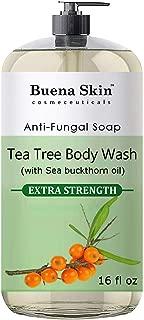 Buena Skin Tea Tree Oil Body Wash - Antifungal Soap for Acne, Body Odor, Foot & Toenails - Antibacterial Shower Soap for Bacteria, Athletes Foot, Eczema, Ringworm & Jock Itch Treatment In Men & Women