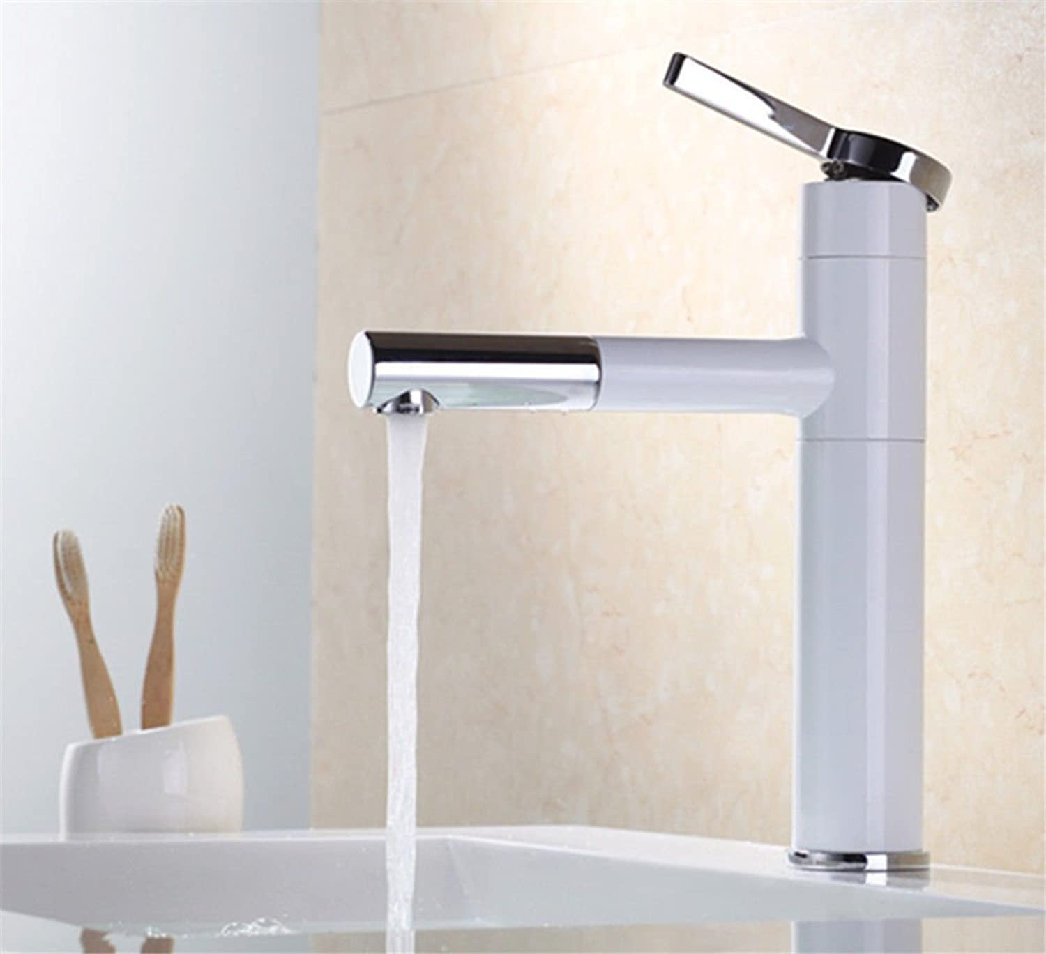 AQMMi Basin Sink Mixer Tap for Lavatory White Stoving Lacquer Single Lever redatable Hot and Cold Water Brass Pull-Out Single Lever Bathroom Vanity Sink Faucet