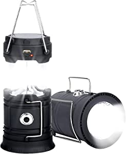 Edomi LED Solar Lantern Emergency - Camping Lantern for Power Outages Battery Powered Flashlight Portable Rechargeable Survival Lights and Lanterns for Home Indoor Fishing Hiking Hurricane Storm