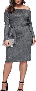 HOOYON Plus Size Dress Women's Off Shoulder Long Sleeve...