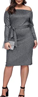Plus Size Dress Women's Off Shoulder Short/Long Sleeve Bodycon Mini Dress