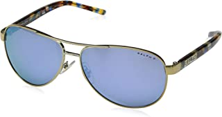 Women's RA4004 Aviator Metal Sunglasses, Light Gold/Dark Grey Mirror Water - Polar, 59 mm