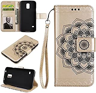 Protective Case Compatible with Samsung Embossed Half Flower Design Wrist Strap Premium PU Leather Wallet Pouch Flip Stand Case Compatible Samsung Galaxy S5 I9600 Phone case (Color : Gold)
