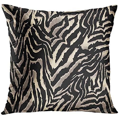 N\A Throw Pillow Cover White Animal Zebra Big Fur Leather Funda de Almohada Decorativa Decoración del hogar Funda de Almohada Cuadrada