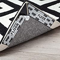 Gorilla Grip Rug Dual Sided Anti Curl Corner and Side Grippers, Washable Patent Pending Pads, Keep Area Rugs Flat on...