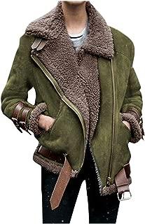 LODDD Winter Women Warm Coat Faux Fur Fleece Outwear Warm Lapel Biker Motor Jacket
