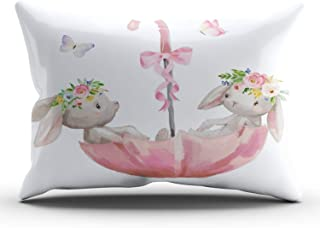 Fanaing Bedroom Custom Decor Pink Bunny Umbrella Boho Baby Girl Nursery Pillowcase Soft Zippered Gray and White Throw Pillow Cover Cushion Case Fashion Design One-Side Printed King 20x36 inches