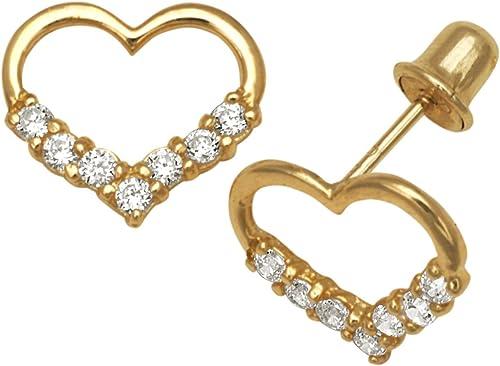 14Karat    GelbGold Ohrringe Zirkonia Herz Schraubverschluss-Ma  8 x 9 mm JewelryWeb